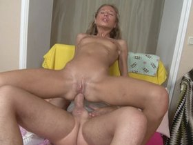 Blonde curly haired and pigtailed dildo dp